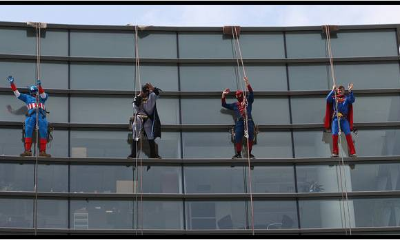 no danger diaries abseil off building as super heroes