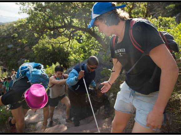 no danger diaries lead 4 blind people up table mountain